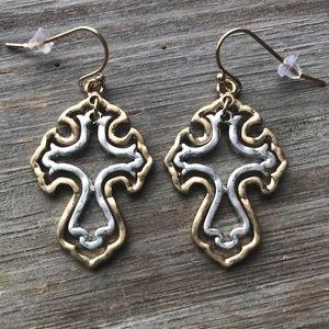 💍Two tone silver gold Tone cross dangle earrings